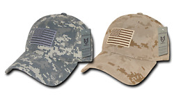 Rapdom Us Flag Military Army Washed Cotton Hat Baseball Cap Acu + Desert 2 Pack