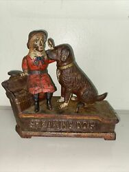 1885 Antique Shepard Hardware Painted Cast Iron Speaking Dog Mechanical Bank Nr