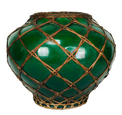 Antique Grass Green Bamboo Wrapped Awaji Japan Pottery Japanese Vase Signed