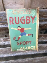Old Original Cycles Rugby French Bicycle Sign Not Enamel Castrol Shell Ford Can