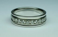 0.90 Ct Natural Diamond Mens Engagement Band 18k Solid White Gold Ring Size 11