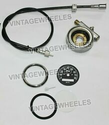 Smiths 0-80 Mph Speedometer Dial Black Face And 64 Cable + Speedo Drive