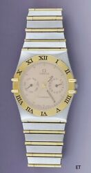 Omega Constellation 18k Gold And Stainless Womenand039s Wristwatch Double Calendar