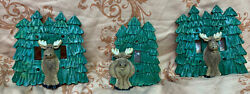 Ceramic Moose And Pine Tree Light Switch Covers 2 Double 1 Single Outdoors Wildlif