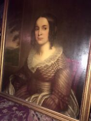 Antique Early American Oil Painting Portrait ,sleepy Hollow Mary Hutchings Crane
