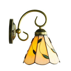 Style Wall Light Fixture Stained Glass Bell Shade Single Light Wall Lamp