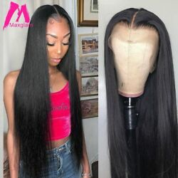 Straight Lace Front Human Hair Wigs Brazilian Pre Plucked Natural Glueless Remy