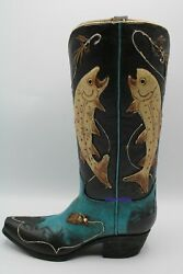 Western Cowboy Boot Vase Gold Fishing Coi Design New