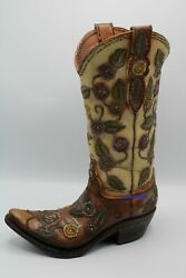 Western Cowboy Boot Vase Brown Leather And Floral Design New