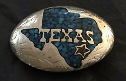 Vintage Handcrafted Nickel Silver And Turquoise Inlay Texas Signed Cl Belt Buckle