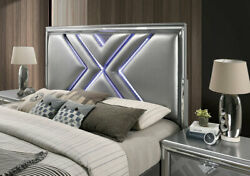 1pc Bedroom Furniture Silver Leatherette Est King Size Bed W Led Hb Drawers Fb