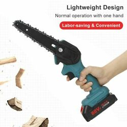 Electric Chain Saw 1200w 6 Inch 88v Battery Pruning Logging Woodworking Tools