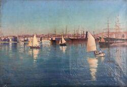 Paul Alphonse Marsac 1865 Marine Painter France Port With Ships From Nantes