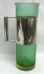 Exquisite Rare Italian Venini Green Crystal And Sterling Silver Wine Pour Pitcher