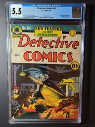 Detective Comics 64 Cgc 5.5 1st Boy Commandos By Kirby And Simon White Pages