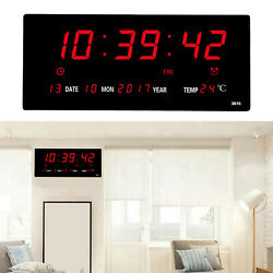 Electronic LED Digital Wall Clock Temperature Humidity Display Home