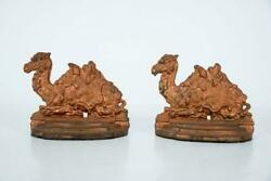 Antique Pair Of Cast Iron Camel Bookends Or Doorstops 5-1/4