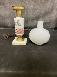 Vintage Floral Milk Glass Hurricane Parlor Lamp Collectible Lighting