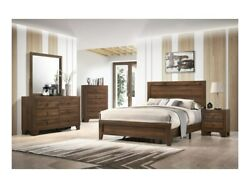 4pc Master Bedroom Set Brown Finish Queen Size Sleigh Bed Wooden Furniture Wood