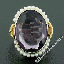 Antique 10k Tt Gold Oval Bezel Purple Stone Seed Pearl Halo And Open Filigree Ring