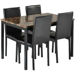 5-piece Faux Marble Table And Faux Leather Chair Dining Set Kitchen Furniture