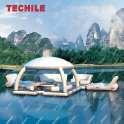 2021 New Design Inflatable Water Leisure Platform Floating Island Tent Outdoor