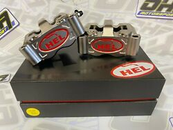 Hel Performance Billet Radial Motorcycle Race Front Brake Calipers 100mm And Pads