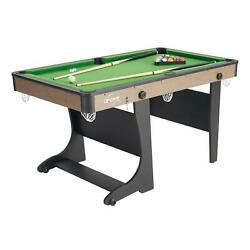60 Folding Green Felt Billiard Table With Accessories Teen Adult Pool Game
