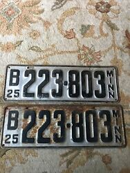 1925 Minnesota License Plate Pair All Original Fast Shipping Look