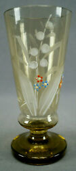 Bohemian Hand Enameled Lily Of The Valley Amber Crystal Goblet Circa 1900