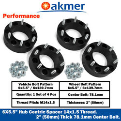 4pc 2and039and039 Hubcentric Spacers Adapters 6x5.5 Fits Cadillac Escalade 14x1.5 Thread