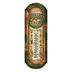 Garden Lunkers Fishing Bait Tin Thermometer Outdoor Or Indoor Decor New