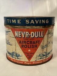 1948 Never-dull Aircraft Polish Tin With Airplane Graphicslarge Full Can