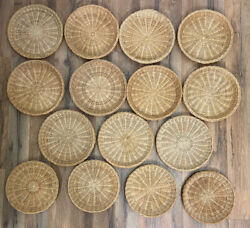 Lot 15 Vintage Wicker Woven Paper Plate Holders Natural Brown Boho Basket Wall