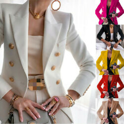 Womens Gold Button Blazer Ladies Double Breasted Military Formal Office Jackets