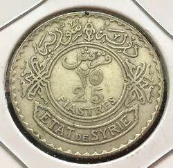 Middle East 25 Piastres 1937 Silver Coin, Km36