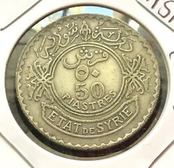 Middle East 50 Piastres 1929 Silver Coin, Km74
