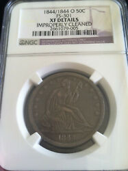 1844/1844 - O Seated Half Dollar 50c - Ngc Xf Details - Rare Fs-301 Double Date