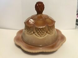Vintage Fenton Chocolate Glass Domed Covered Dish Cheese Butter