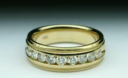 0.90 Ct Natural Diamond Mens Engagement Band 18k Solid Yellow Gold Ring Size 12