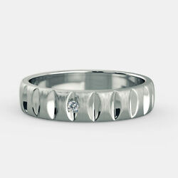 0.04 Ct Natural Diamond Mens Engagement Band 18k Solid White Gold Ring Size 12