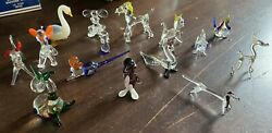 Large Collection Of Vintage Murano Glass Animals Sausage Dog Peacock Monkey Pig
