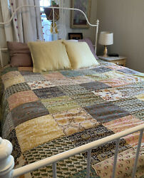 Pottery Barn Vintage Bold Floral Palampore Patchwork Quilt Size Queen