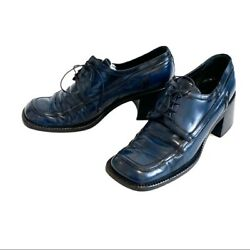 Vintage Rare Prada Blue Oxford Shoes From 1996.