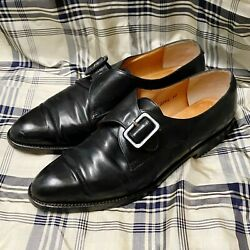 Vintage Women's Robert Clergerie Black Leather Monk Strap Shoes, Size 7, From 90