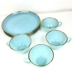 Vintage Fire King Turquoise Blue 22k Gold 8 Piece Plates Cups Snack Set Anchor