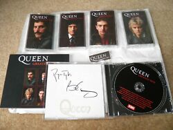 Queen Greatest Hits Signed Cd, Cassette Set And Badge Bundle Sold Out 1000 Signed
