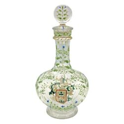 Irish Enameled Glass Wine Decanter With Thompson Crest Poss. Galle