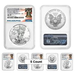 Lot Of 5 - 2021 P 1 Oz Silver Eagle Ngc Ms 70 Er Liberty Bell Emergency