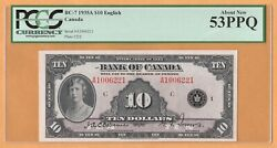 Bank Of Canada 10 Dollars English Au Pcgs-53ppq 1935 Bc-7 Plate C2/2 Banknote